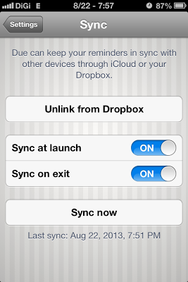 Due sync with Dropbox